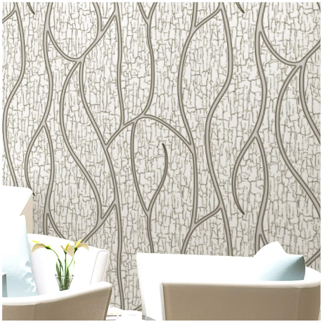 Blooming Wall Extra-Thick Modern Non-Woven Leaf Flows Pattern Wallpaper Wall Paper Roll for Livingroom Bedroom, 57 Square Ft/Roll,