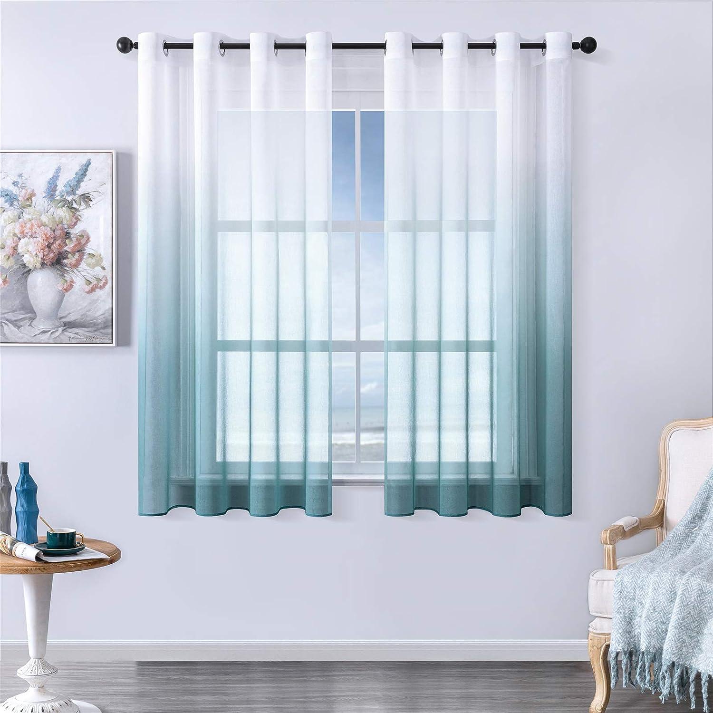 MRTREES Voile Gardinen Farbverlauf Leinenoptik Transparent Vorhang Kurz  Tüllvorhang mit Ösen Blau 12×12cm H×B Modern für Dekoration  Kinderzimmer ...
