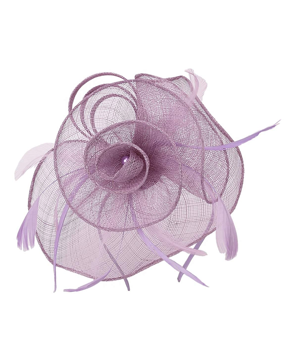 Felizhouse Sinamay Fascinators Wedding Hats for Women Royal Ascot Cocktail Party Headband Ladies Head Piece Flower Feather Veil Derby Pillbox Hat Hair Clip