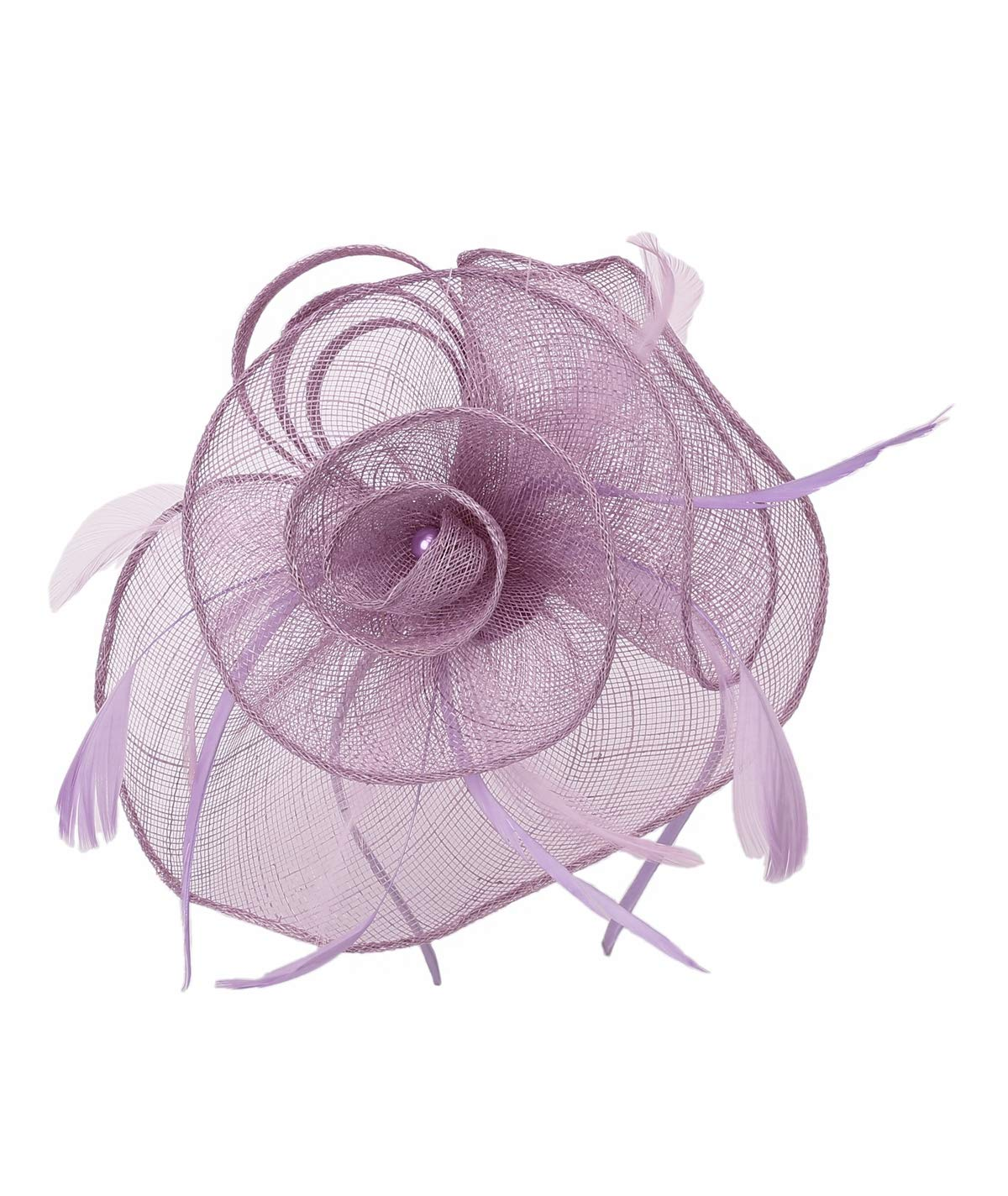 Felizhouse Sinamay Fascinators Wedding Derby Hats Women Cocktail Tea Party Headband Ladies Head Piece Pillbox Hat Hair Clip (Sinamay Pearl - Purple)