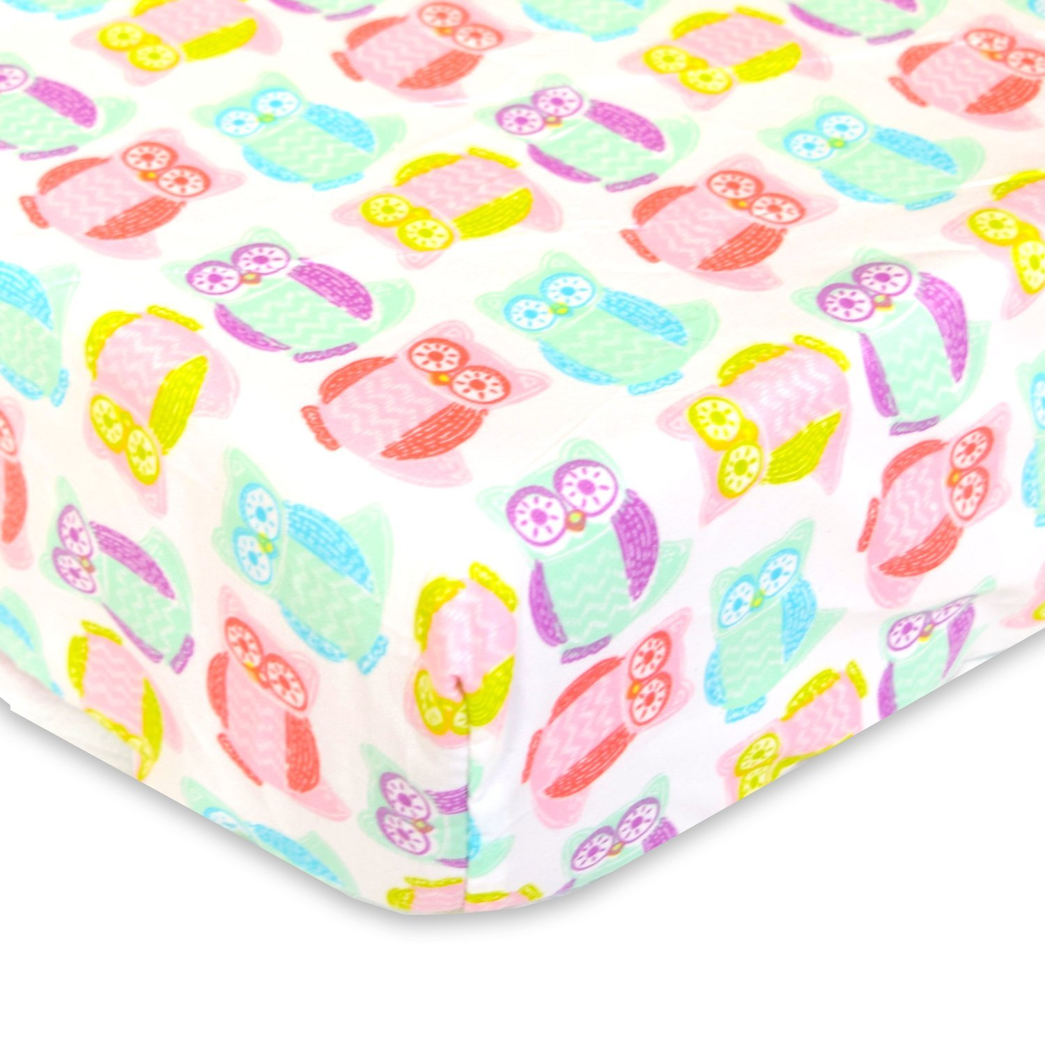 Cuddly Cubs Microfiber Fitted Crib Sheet - Colorful Owls - Soft Nursery Bedding for Boys and Girls - Best Infant Bed Sheets For Baby Shower Gift by Cuddly Cubs   B01DGWVKF2