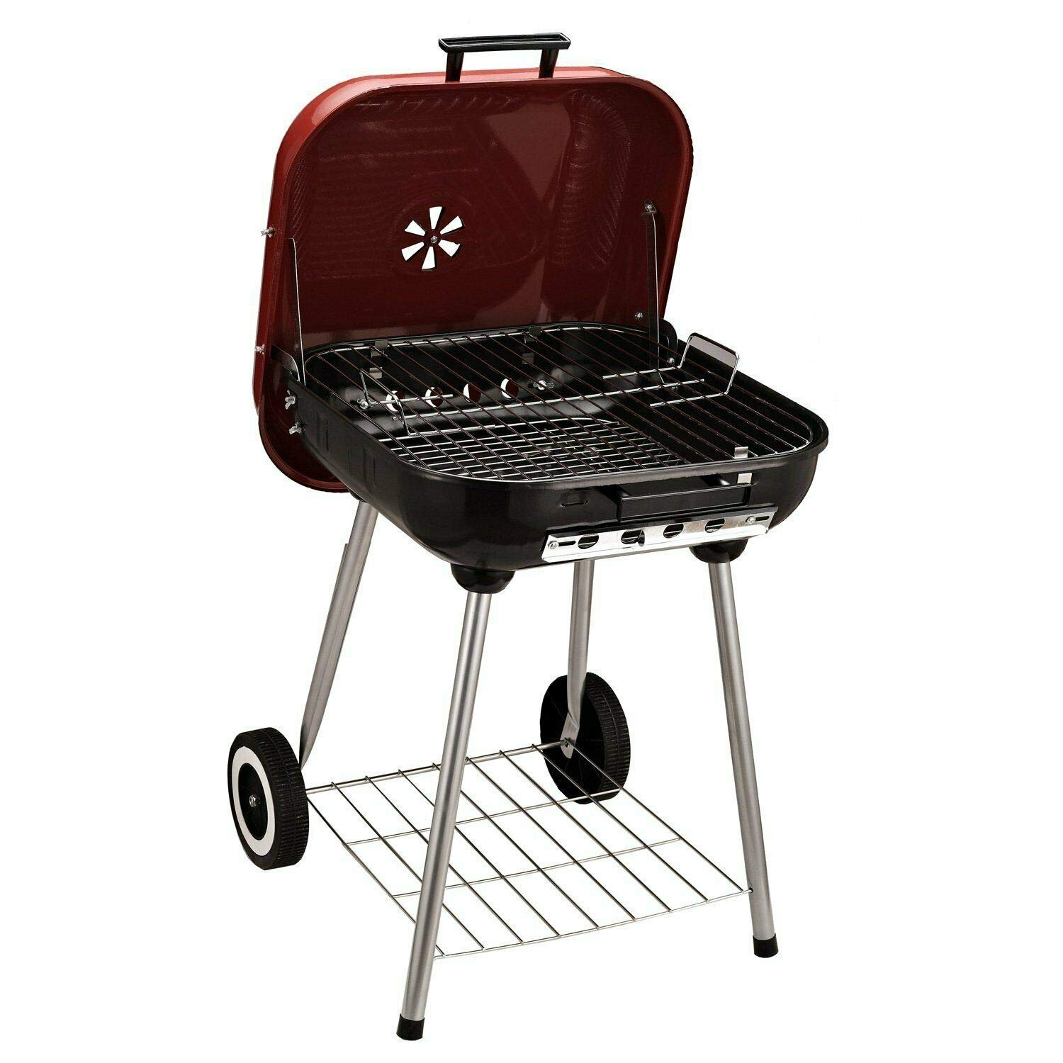 FDInspiration Black&Red Portable Kettle Outdoor Barbecue Charcoal Grill Picnic Camping BBQ Grilling w/Bottom Rack Shelf & Wheels with Ebook