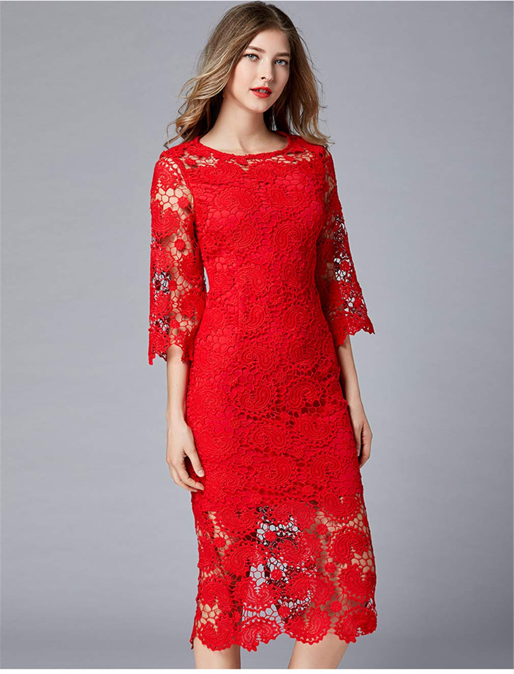4XL Dress Dinner Party Long Sexy Lace Slim Fit Girl Red Leisure Summer Beach Clothing