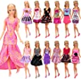 Barwa 12-Pack Fashion Mini Dresses Clothes Outfits Sets Mix Styles And Color Random For Barbie Doll