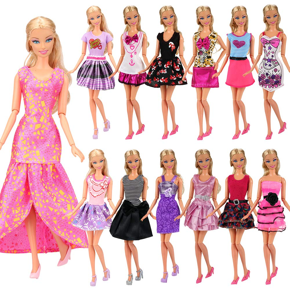 41d8225a664a6 BARWA 12 Pcs Mini Dresses Handmade Doll Clothes Accessories for 11.5 Inch  Girl Doll Tug of War Wedding Party Dresses