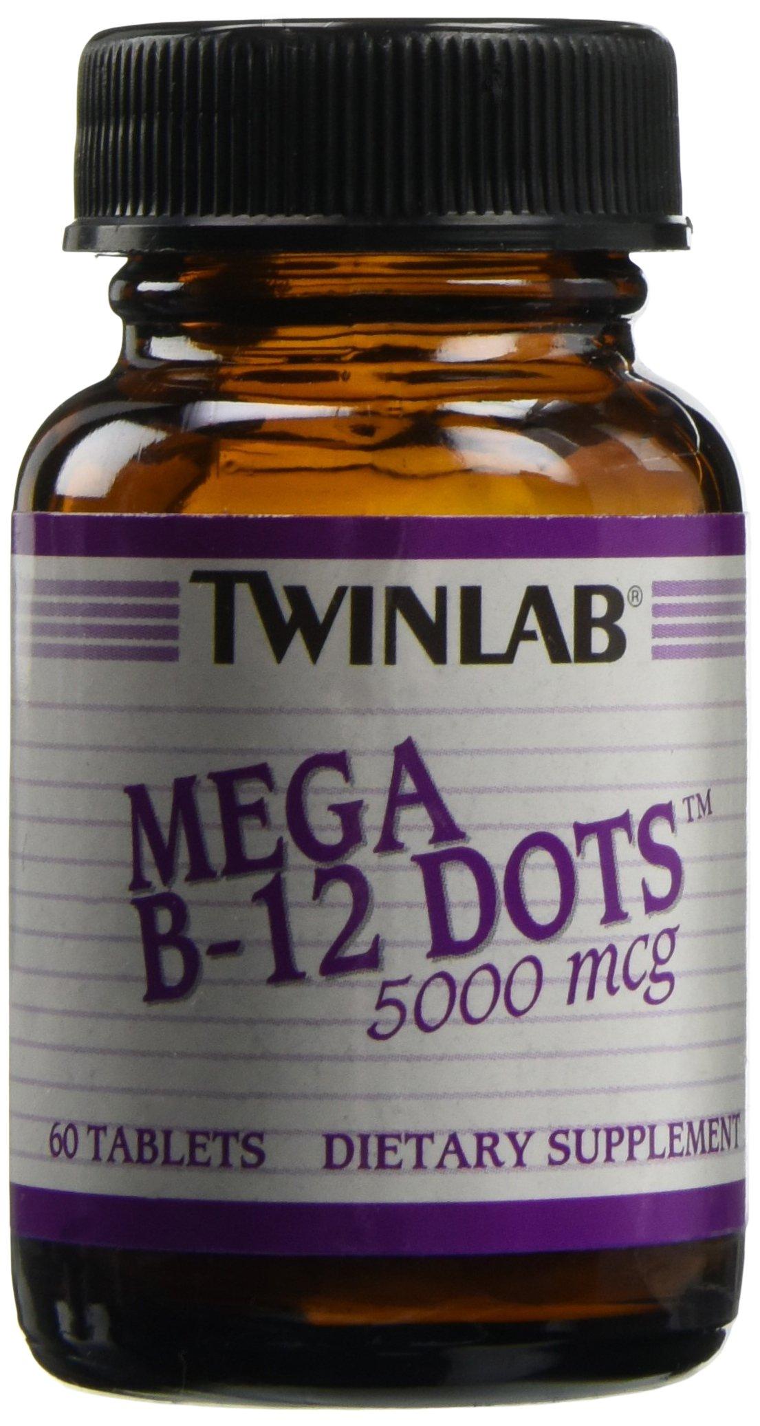 Twinlab Mega B12 5,000 mcg Dots, 60 ct