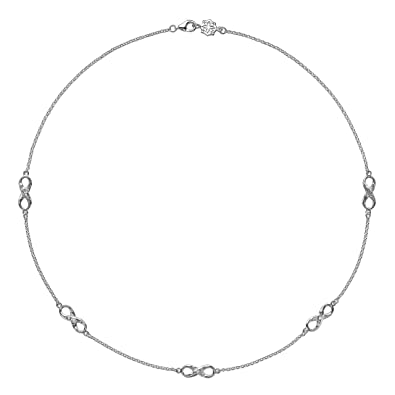 DOWER & HALL Entwined Sterling Silver Infinity on 46cm Double Chain Necklace VSpk6Yksb