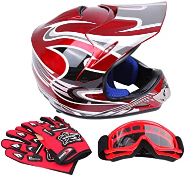 BLACK GOGGLES Youth Motocross Motorcycle Dirt Pit Bike ATV QUAD for KIDS HELMET