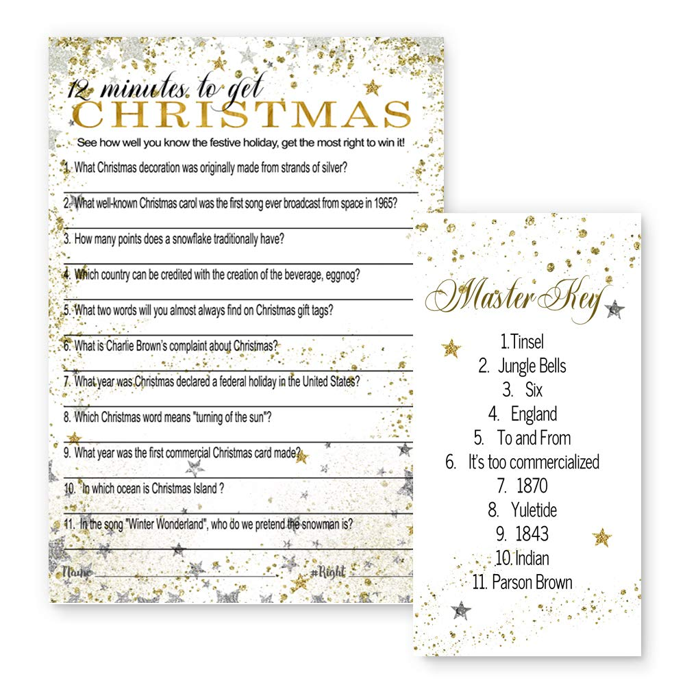Christmas Carol Trivia.Festive Christmas Party Trivia Game Cards Set Of 25 Silver And Gold Star