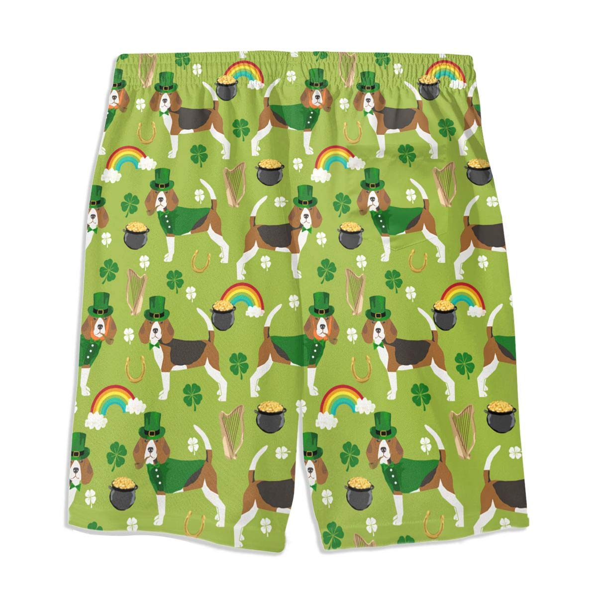 St Patricks Day Leprechaun Beagle Rainbow Green Teen Swim Trunks Bathing Suit Shorts Board Beach
