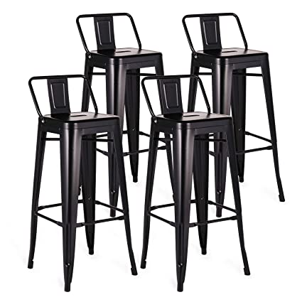 Phenomenal Vecelo Modern Industrial Barstool 30 Seat Height Metal Pub Counter Stool Kitchen Side Chair Set Of 4 Black Caraccident5 Cool Chair Designs And Ideas Caraccident5Info