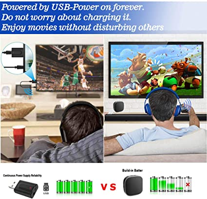 for Home Sound Stereo System Headphones//Speakers USB Power Supply 2-in-1 Wireless 3.5mm Audio Adapter Baiway Bluetooth 5.0 Transmitter Receiver for TV PC Portable AptX Low Latency AUX Adapter
