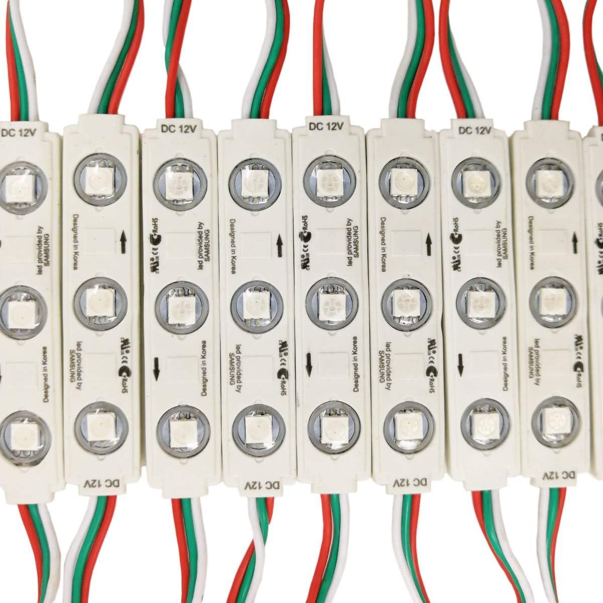 YUNBO Pack 20Pcs WS2811 LED Module Lights 0.72W SMD 5050 Addressable Dream Color DC 12V RGB LED Module Waterproof IP65 LED Storefront Lights with Mini RF 14Keys WS2811 LED Controller