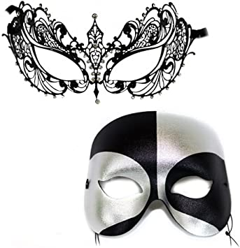 HIS N HERS PAIR COUPLES MIDNIGHT BLACK  VENETIAN MASQUERADE PARTY PROM EYE MASKS