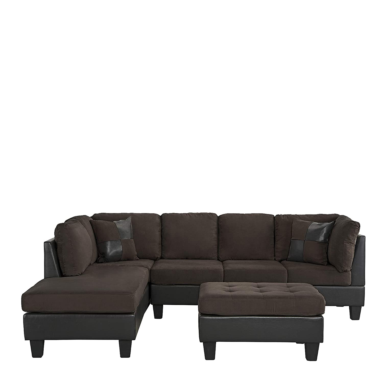 Amazon.com: 3 Piece Modern Microfiber Faux Leather Sectional Sofa ...