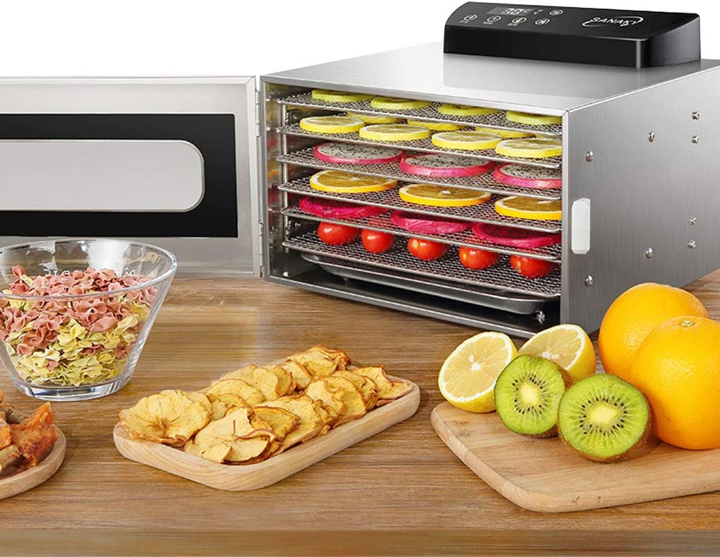 Food Dehydrator, 6 Layers Commercial Stainless Steel Fruit Dehydrator, 400W Professional Adjustable Temperature Control and 0~24 Hours Digital Timer Touch Screen Food Dryer Household with Glass Window and Recipe (110V)