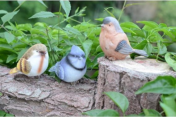 OUNONA R/ésine Oiseaux Artisanat Artisan Artware Miniature Figurine D/écoration de La Maison Jardin Ornement 6 Pi/èces