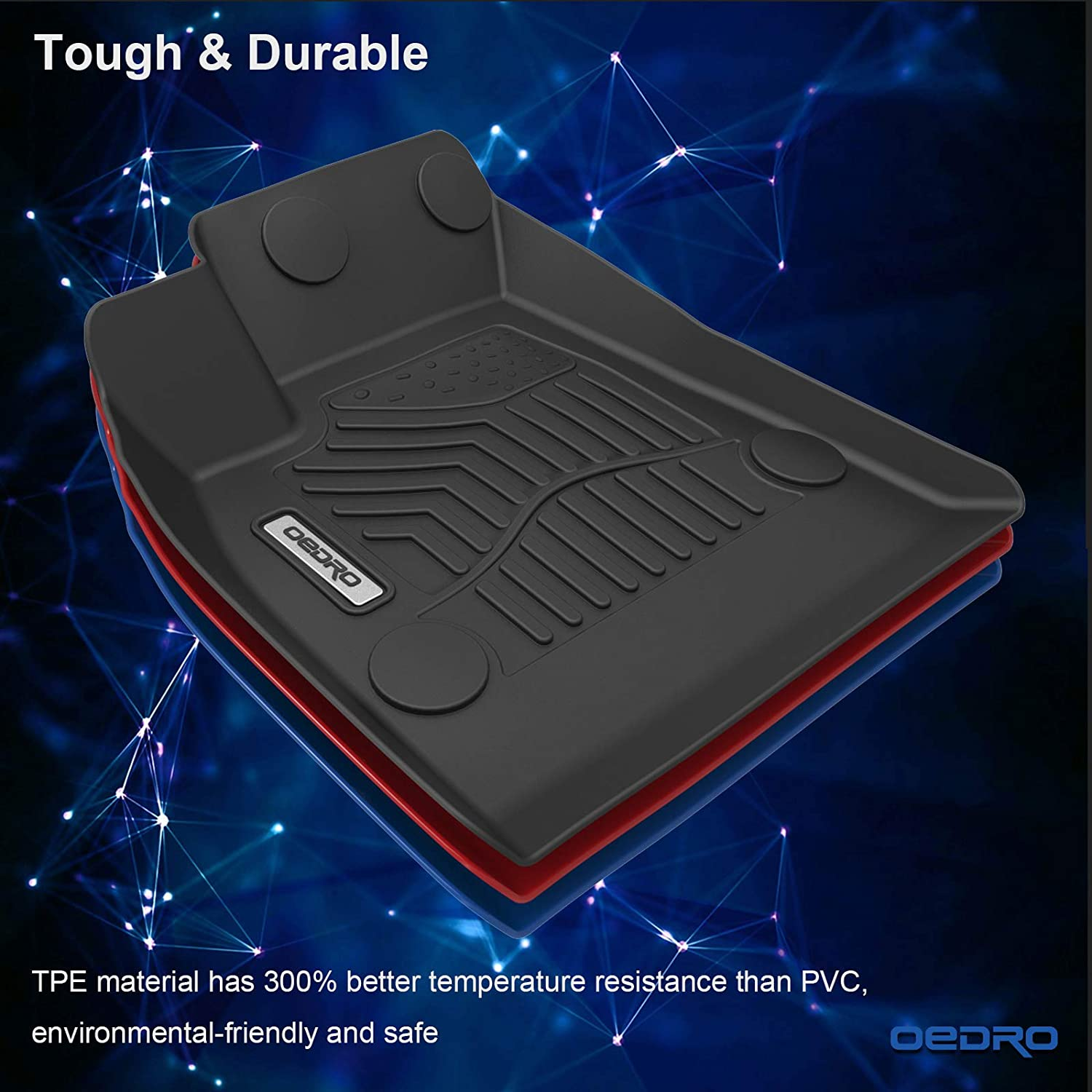 Front /& Rear Full Set Liner Black TPE All Weather Guard oEdRo Floor Mats Compatible with 2020 Tesla Model Y Includes 1st and 2nd Row