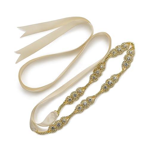 SWEETV Boda Vestido Faja Cintura Cinturón Cinta de Raso de Brillantes Diamantes de Imitación de Novi...