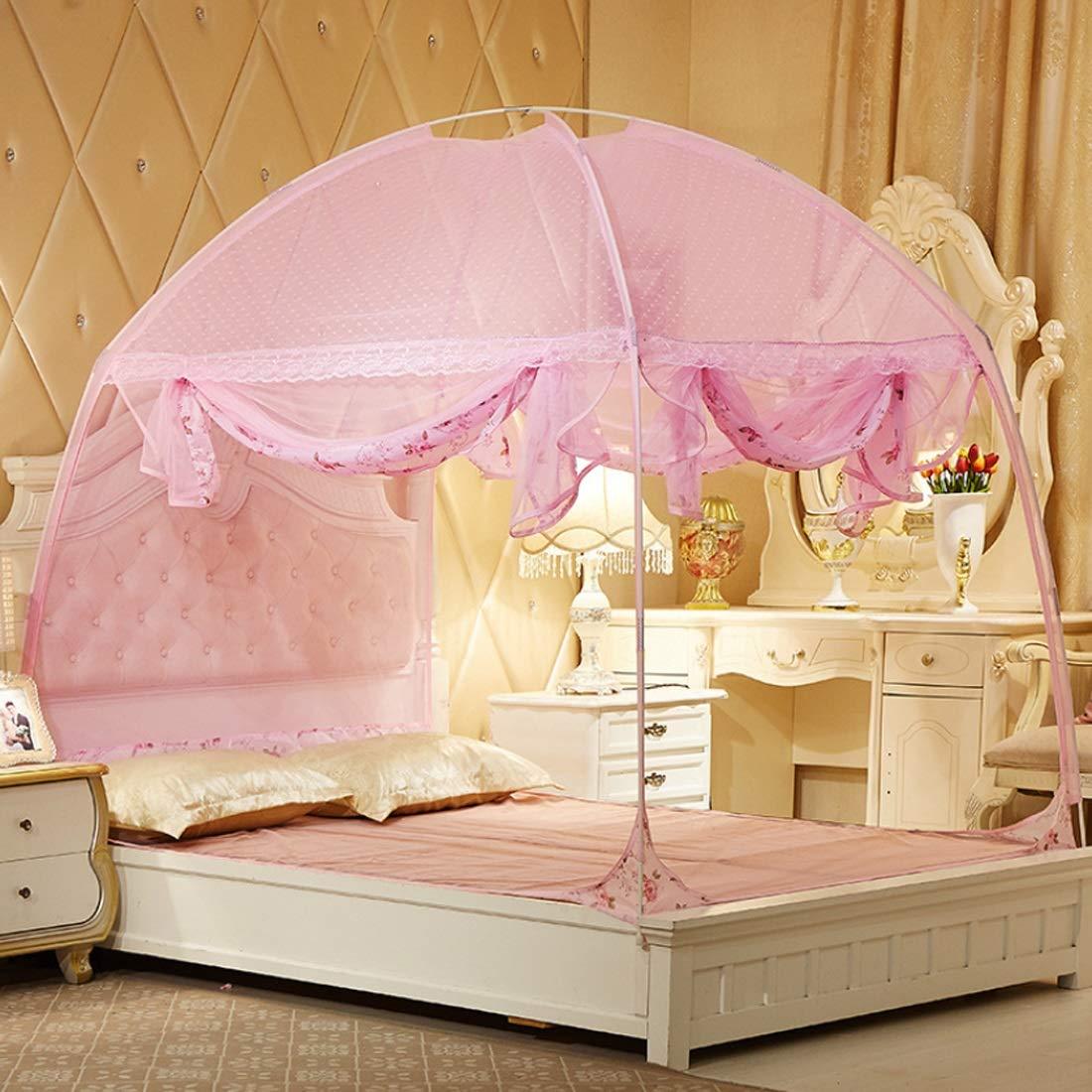随州高新区酷冰便利购物店 モスキートネットUタイプの暗号化高められたアカウント糸3ベッドモスキートネットユルルトベッドテントは、寝室に適しています (色 : ピンク, サイズ : 120*200CM) B07R1LR3KD ピンク 120*200CM