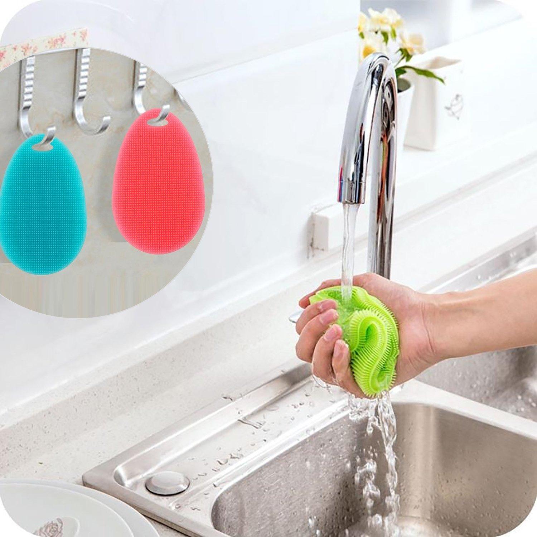 DAMIGRAM 5 Pezzi Scrubber Pennello Da Cucina Spugna Di Silicone per Lavare Stoviglie Piatti Frutta Verdura