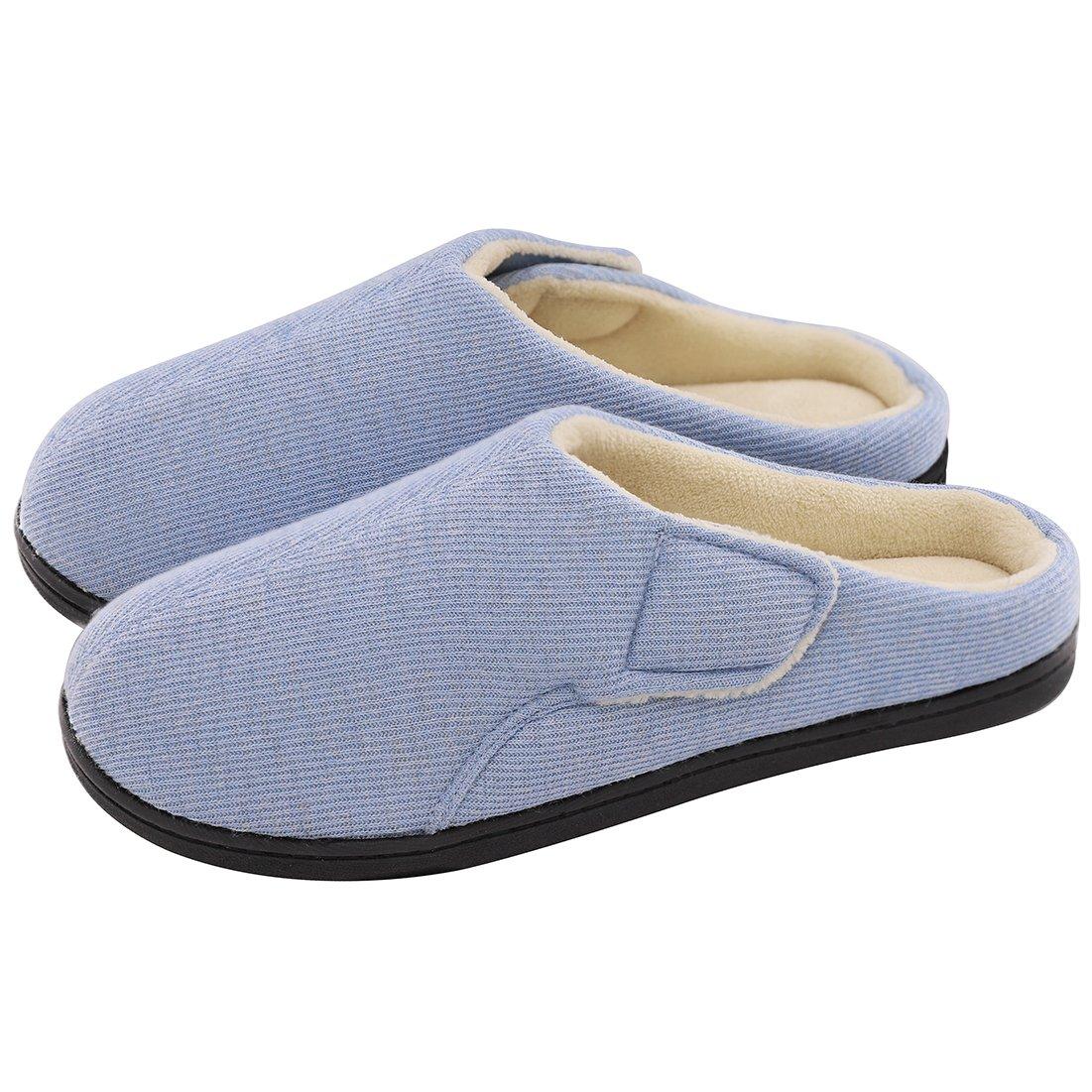 ULTRAIDEAS Women's Comfort Velvet Memory Foam Slippers Short Plush Clog Indoor & Outdoor Diabetic Shoes w/Adjustable Velcro (Large/9-10 B(M) US, Blue)