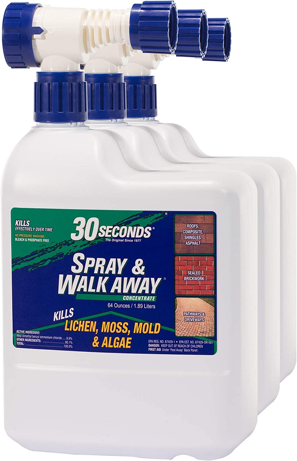 30 SECONDS Cleaners 64SAWA 3PA Spray & Walk Away Cleaner, 64 oz with Hose End Sprayer (Pack of 3)