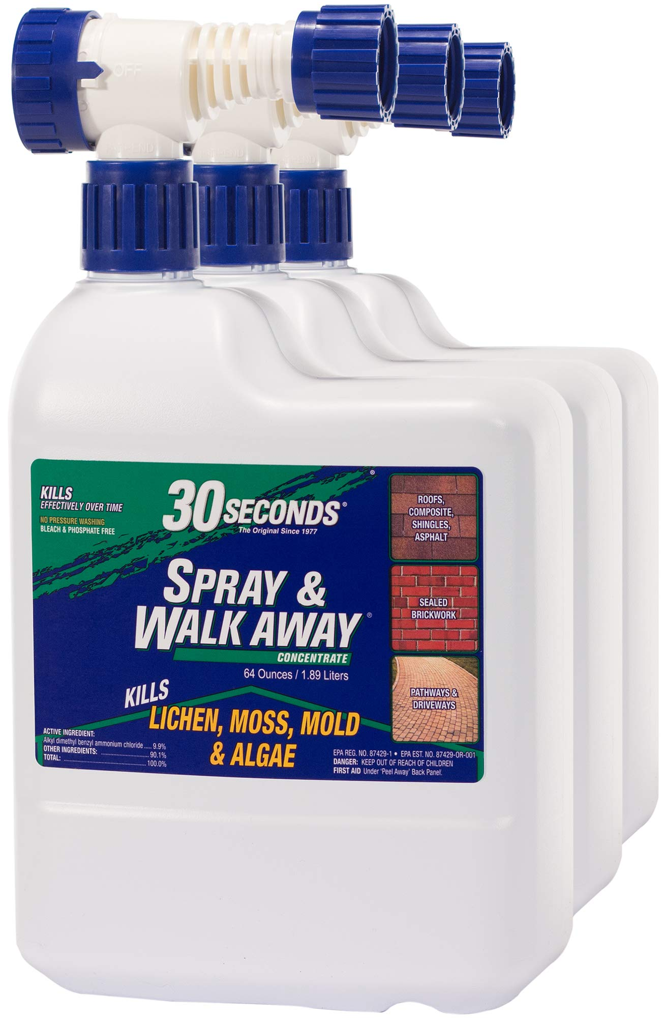 0 SECONDS Cleaners 64SAWA 3PA Spray & Walk Away Cleaner, 64 oz with Hose End Sprayer (Pack of 3)