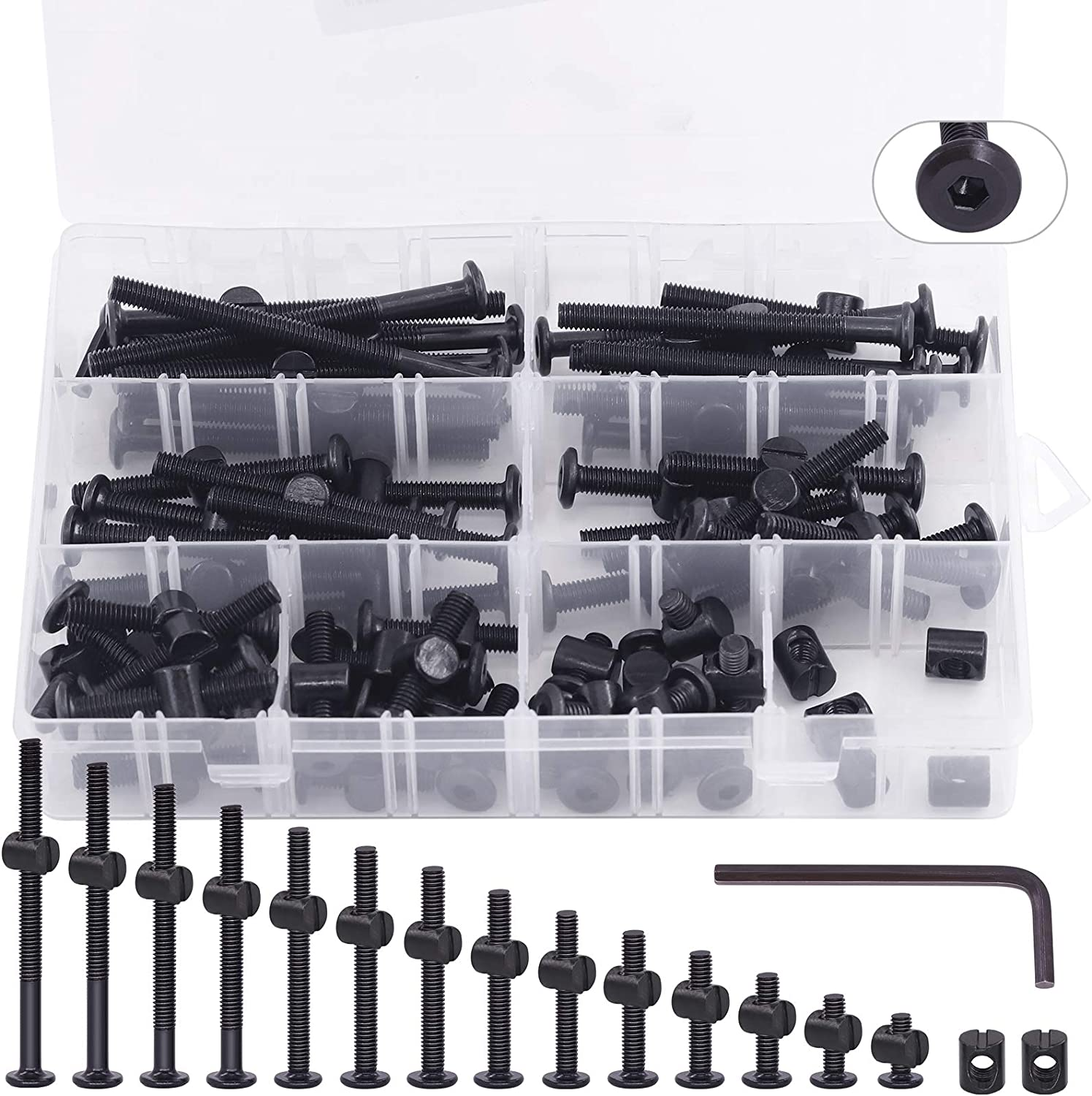 Keadic 141Pcs M6 x 15-80 mm Baby Bed Screws Hardware Replacement Kit, Black Hex Socket Cap Bolts Barrel Nuts Assortment Kit for Furniture Cots Beds Crib, 1 Hex Key and Plastic Box for Free