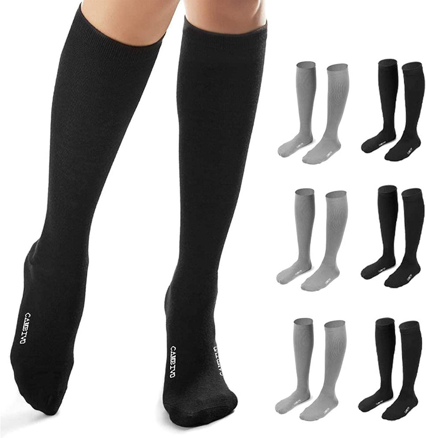 CAMBIVO 6 Pairs Compression Socks for Women and Men, Compression Stocking for Travel, Nursing, Pregnancy (15-20 mmHg)