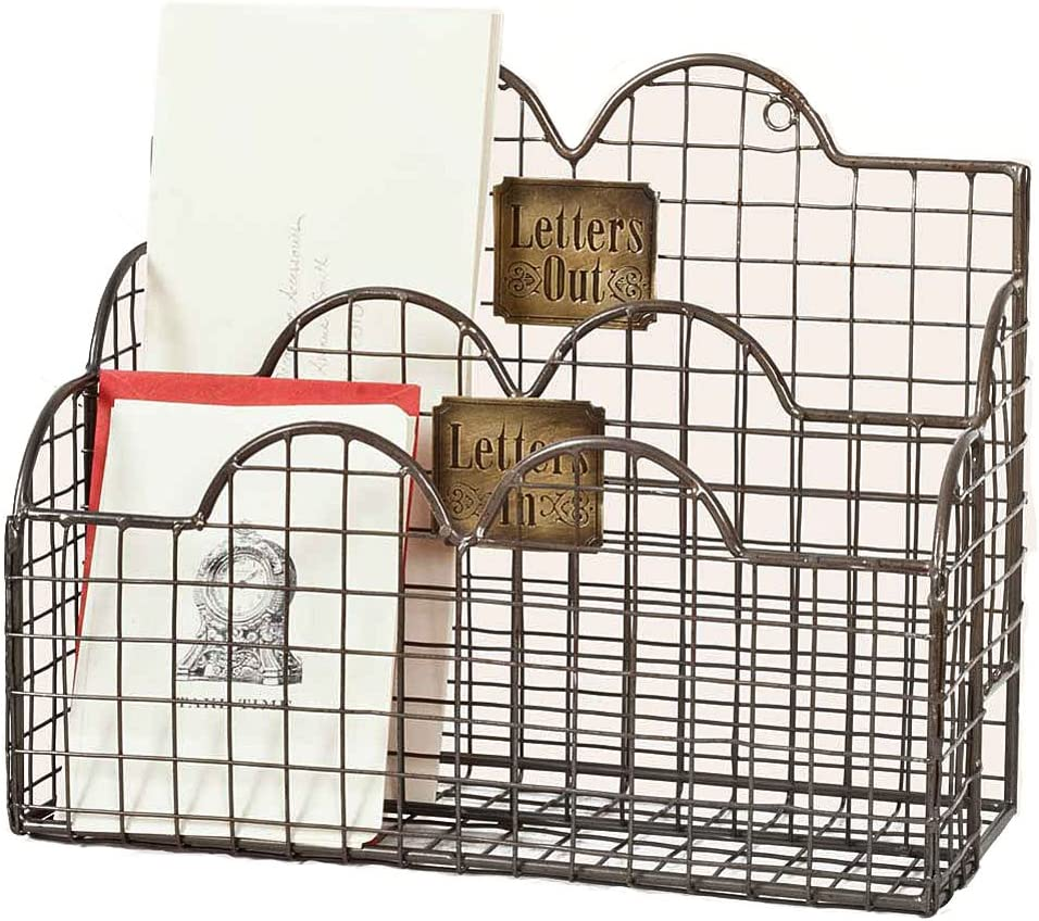Colonial Tin Works Industrial Galvanized Steel Wire Letter / File Desk Organizer Holder Office Storage, Gray