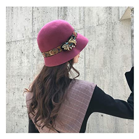 4d2c65cefa2 Haoweiwei Fahion Autumn Winter 2018 New Female Fedoras Wool Felt Hats  Elegant Bucket Ethnic Style Belt