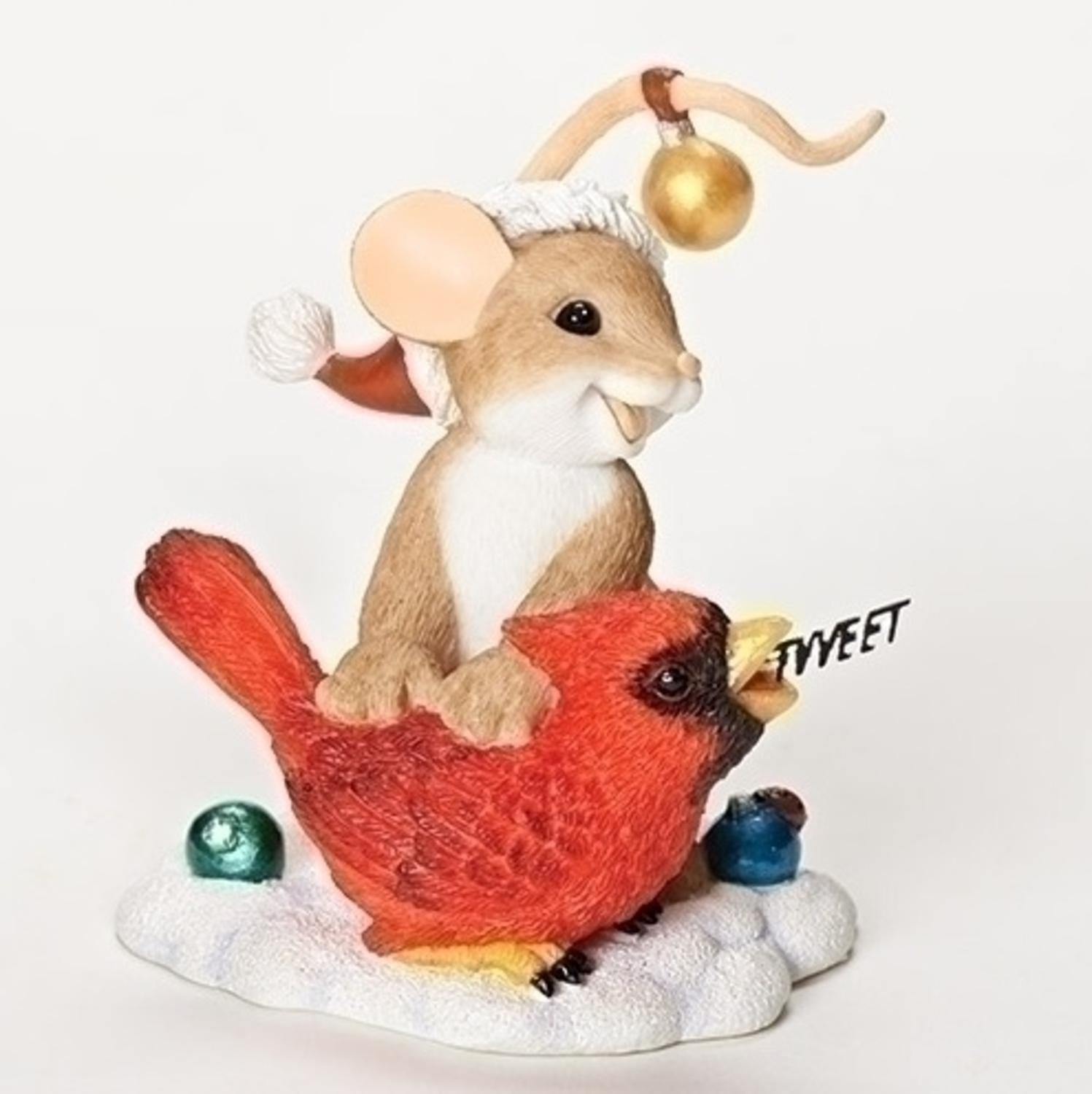 3 inch Charming Tails Sending You a Merry Christmas Tweet Mouse and Cardinal Bird Collectible Figurine