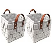 ECOHIP 2-Pack Small Felt Woven Storage Basket Decorative Cloth Bins Fabric Cube