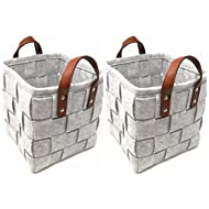 ECOHIP 2-Pack Small Felt Woven Storage Basket Decorative Cloth Bins Fabric Cube