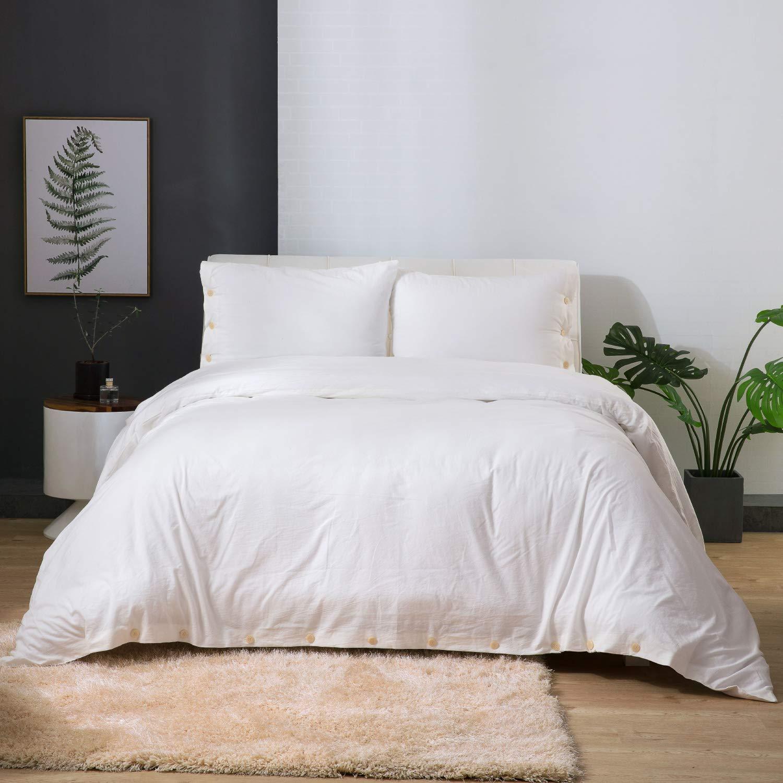 Bedsure 100% Washed Cotton Duvet Cover Sets King Size White Bedding Set 3 Pieces (1 Duvet Cover + 2 Pillow Shams)