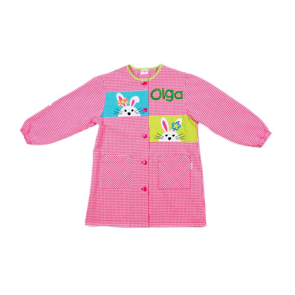 Dyneke Bata escolar botón rosa Conejitos bordados (personalización opcional gratuita con nombre bordado)(Talla 2): Amazon.es: Ropa y accesorios