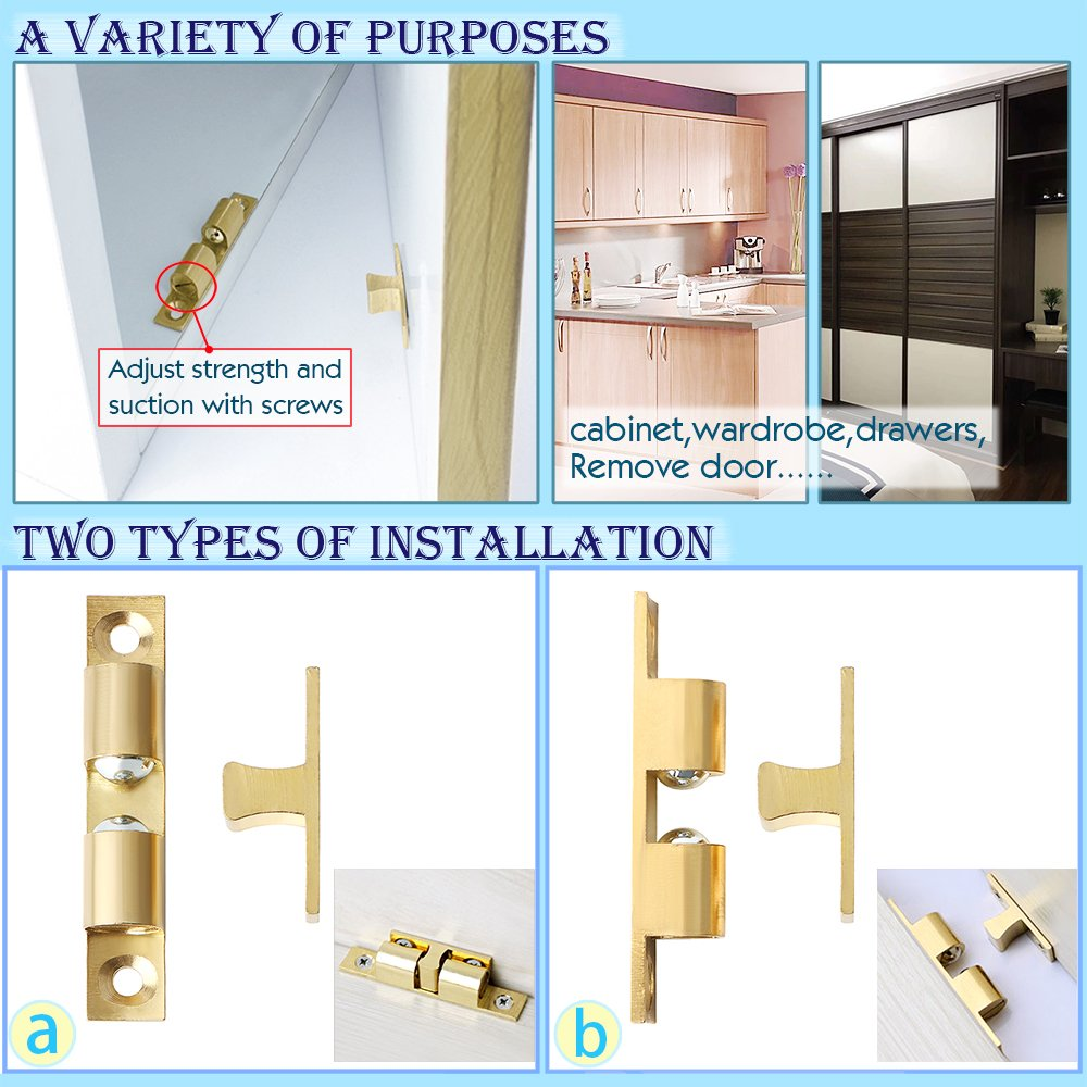 ECA250-4P Bright Brass Finished Sayayo 4Pcs Solid Brass Door Catch Double Ball Tension Catch for Cabinet Cupboard