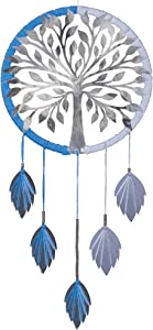 Silver Reflective Wall Decor Glossy ReflectiveTree of Life Bodhi Dream Catcher Precision Lazer Cut Acrylic Silver Tree, Hanging Silver Leaves with Blended Yarn Size:12 x 24 inches (30.5 x 60 cms)