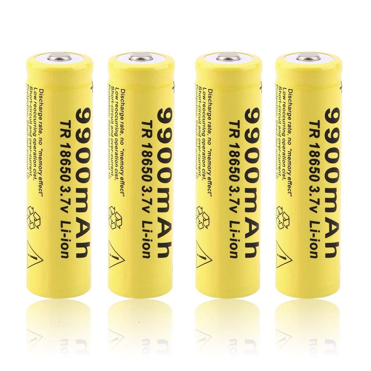 Baterí as recargables del Li-ion de 4 x 3.7V 18650 9900mah, baterí a amarilla del GIF 18650 3.7V 9900mAh de la capacidad GIF recargable de Shell para el banco del poder de la antorcha de la linterna del LED Redstrong