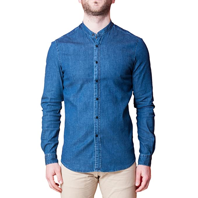 Camicia Uomo di Jeans Collo Coreano Blu Elegante Slim Fit Manica Lunga  Sartoriale Classica Camicetta Denim Casual sotto Giacca (L)  Amazon.it   Abbigliamento 06798ea0907