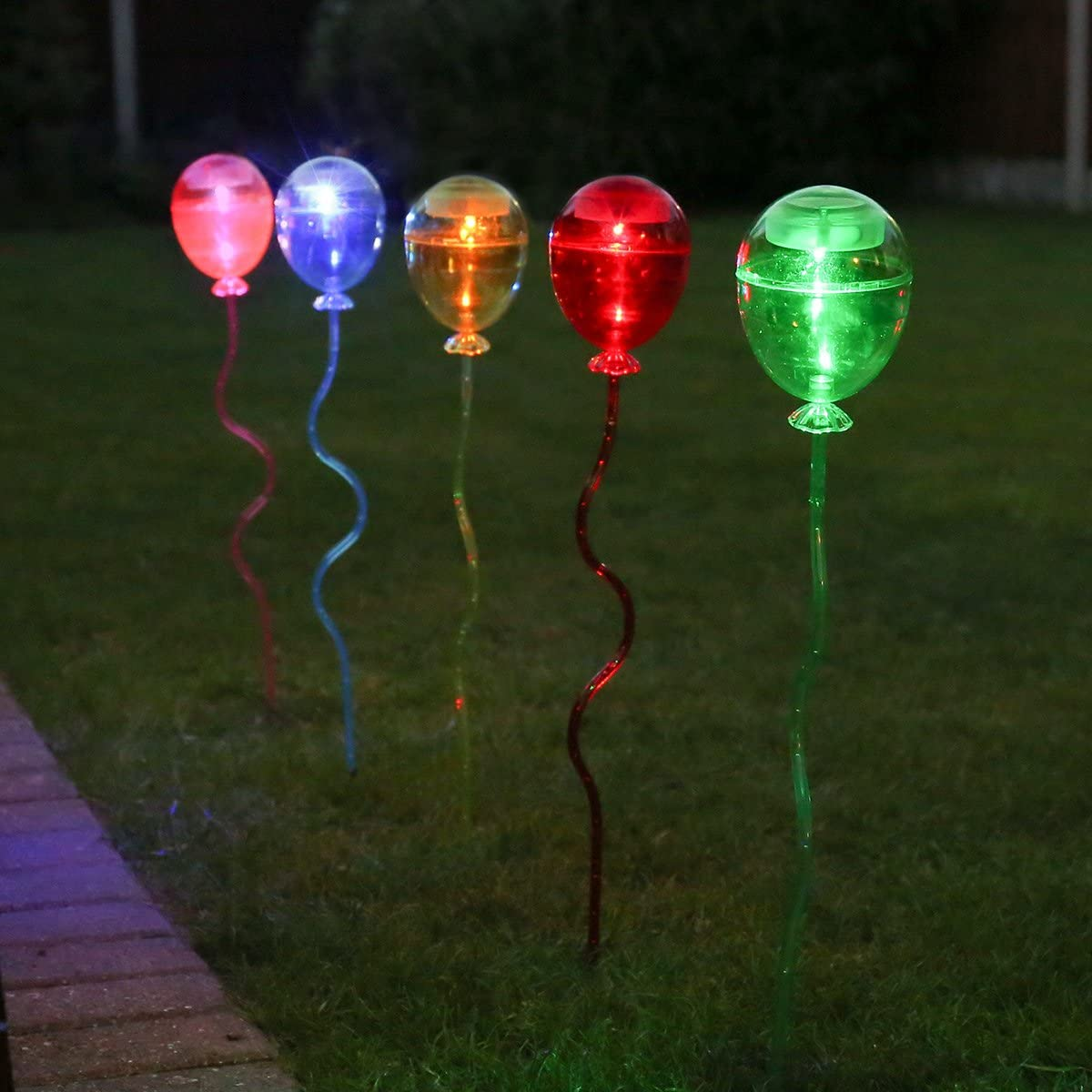 Pack Of 5 By Party Balloon Stake Lights 60cm Multi Colour Solar Powered