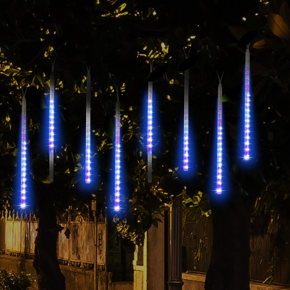 Amazon.com : Topist Falling Rain Christmas Lights, Waterproof LED Meteor Shower  Lights With 30cm 8 Tube 144 LEDs, Icicle Snow Fall String Cascading Lights  ...