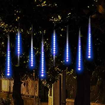 topist falling rain christmas lights waterproof led meteor shower with 30cm 8 tube 144 louisville decorative outdoor lighting adds mystique