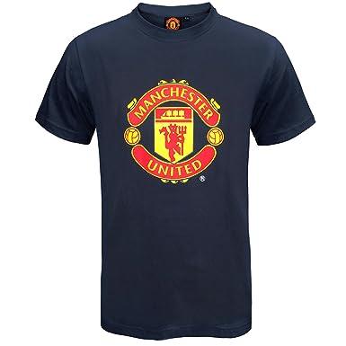 4fa783f50e2 Manchester United FC Herren T-Shirt mit originalem Fußball-Wappen - Geschenk  - Rot