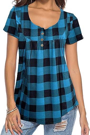 DEMO SHOW - Camiseta de túnica para mujer, manga larga, cuello en V, plisada, diseño floral