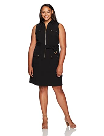 2f6c96fe8d6 Sharagano Women s Plus Size Sleeveless Shirt Dress with Cargo Pockets at  Amazon Women s Clothing store