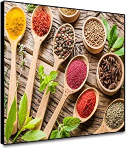 Canessioa Modern Framed Canvas Wall Art Kitchen Pictures Couful Spice in Spoon Gather Together in Table Both Power Granulate and Slice Pices Food Theme for Living Room Kitcken Home Decor 20x16inch