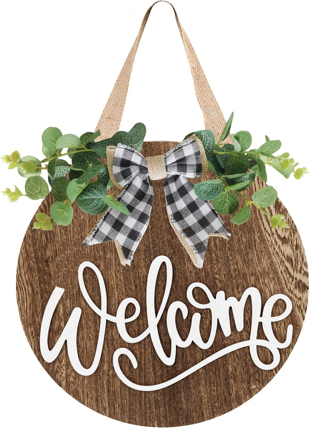 Welcome Sign for Front Door - Welcome Wreaths for Rustic Farmhouse Decorations - Wood Front Door Hangers Decor Front Porch Decorations Outdoor Hanging Sign Farmhouse Sign Brown