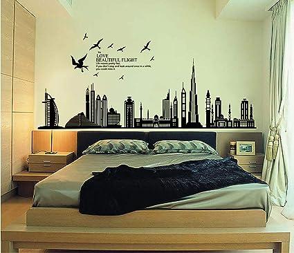 Stickers Murali Camera Da Letto.Ufengke Citta Nera Silhouette Paesaggio Urbano Grattacielo